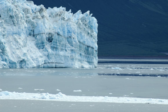 Hubbard Glacier with melted ice from warming on the foreground